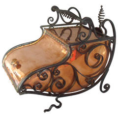 Large 19th Century Arts and Crafts Copper and Iron Purdonium or Coal Scuttle