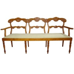 19th Century Maple Biedermier Chair Back Settee