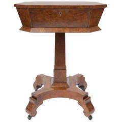 Late Regency Amboyna Sewing/Occasional Table