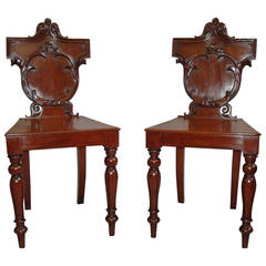 Late Regency Pair of Irish Mahogany Hall Chairs