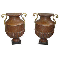 Unusual Pair of Faux Pophyry Flat Back Urns