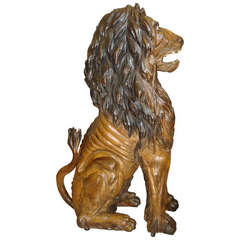 Spectacular Life-Size Carved Lion