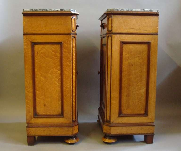 Late c19th pair of french birds eye maple bedside cabinets for Birds eye maple kitchen cabinets