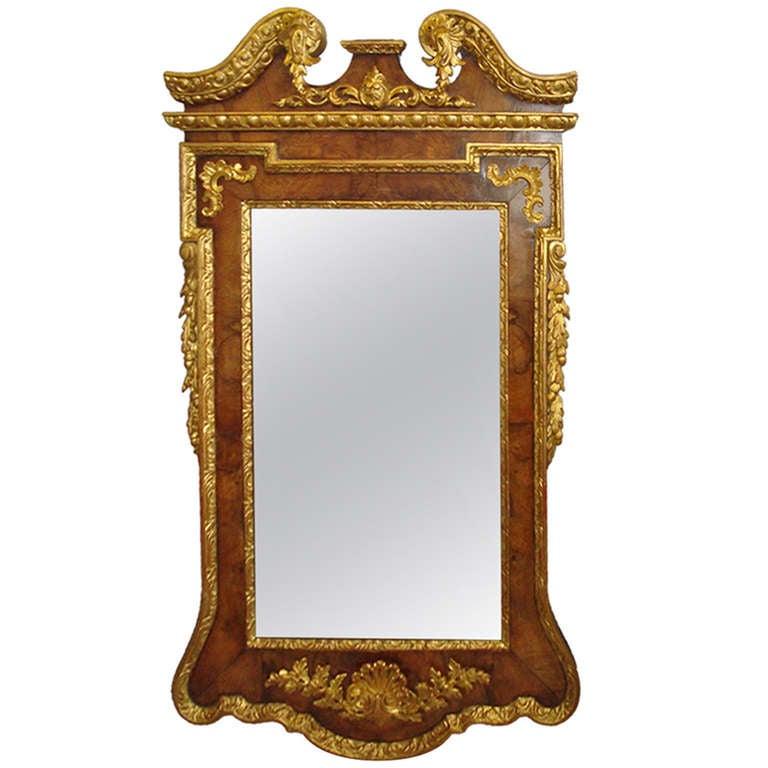 Impressive George II Walnut and Parcel Gilt Wall Mirror
