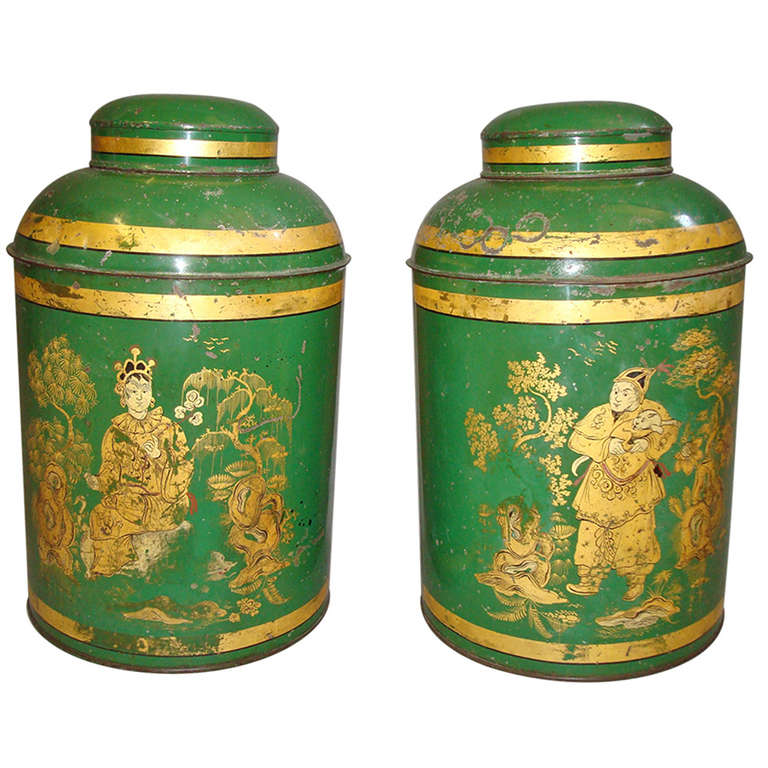 Good Pair of English 19th Century Japanned Tole Tea Canister