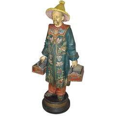 19th century Decorated Terracotta China Man Statue