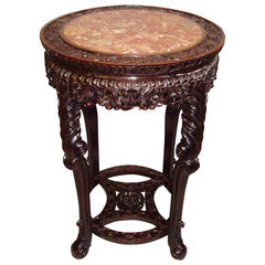 19th Century Chinese Hongmu Urn Stand of Large Proportions