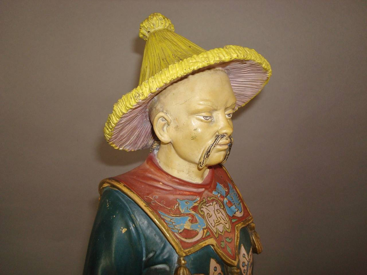 Late 19th Century 19th century Decorated Terracotta China Man Statue For Sale