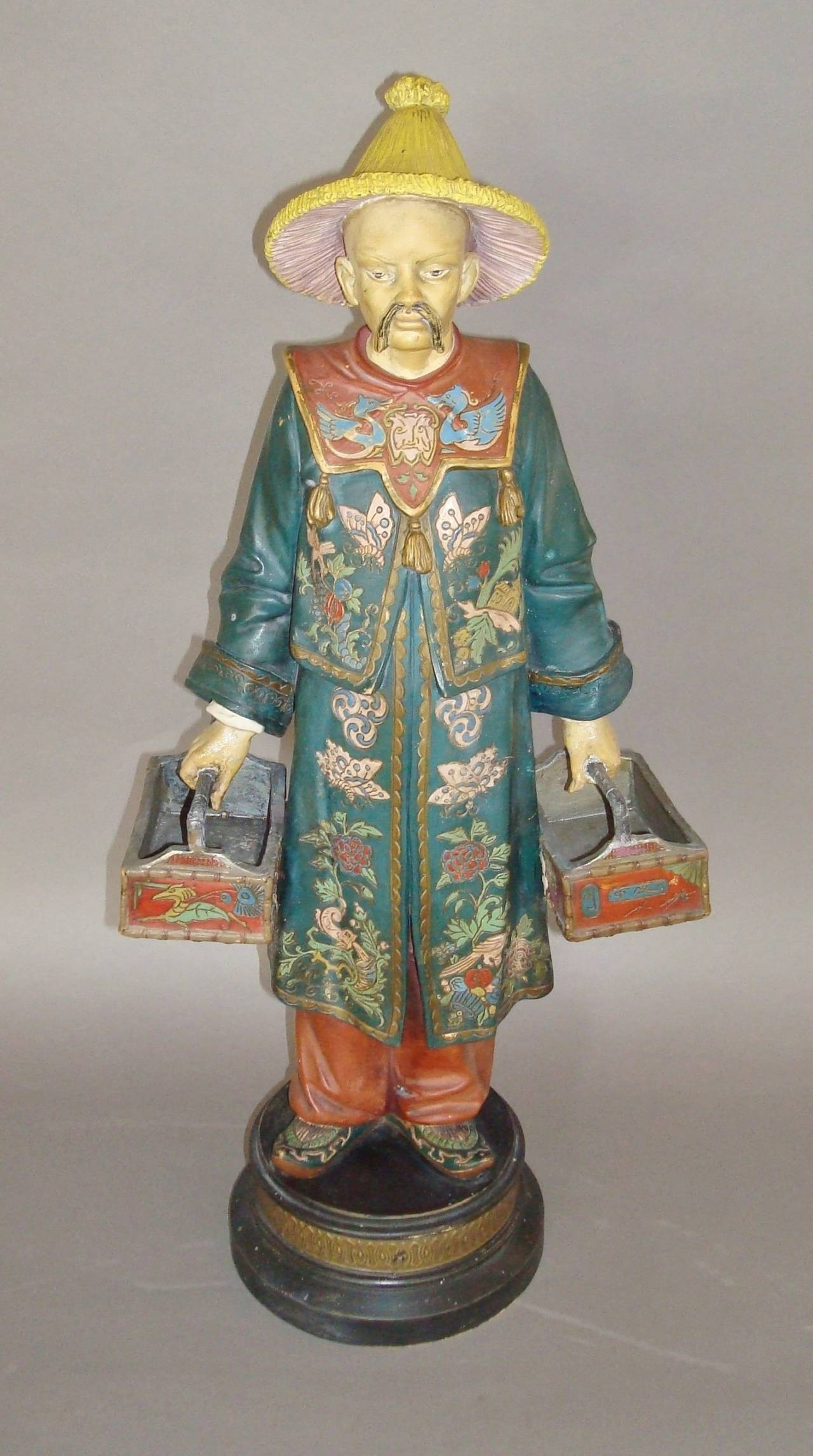 Chinoiserie 19th century Decorated Terracotta China Man Statue For Sale