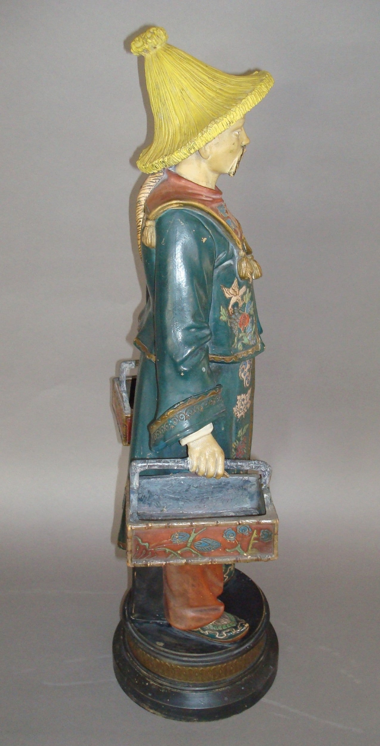 Austrian 19th century Decorated Terracotta China Man Statue For Sale