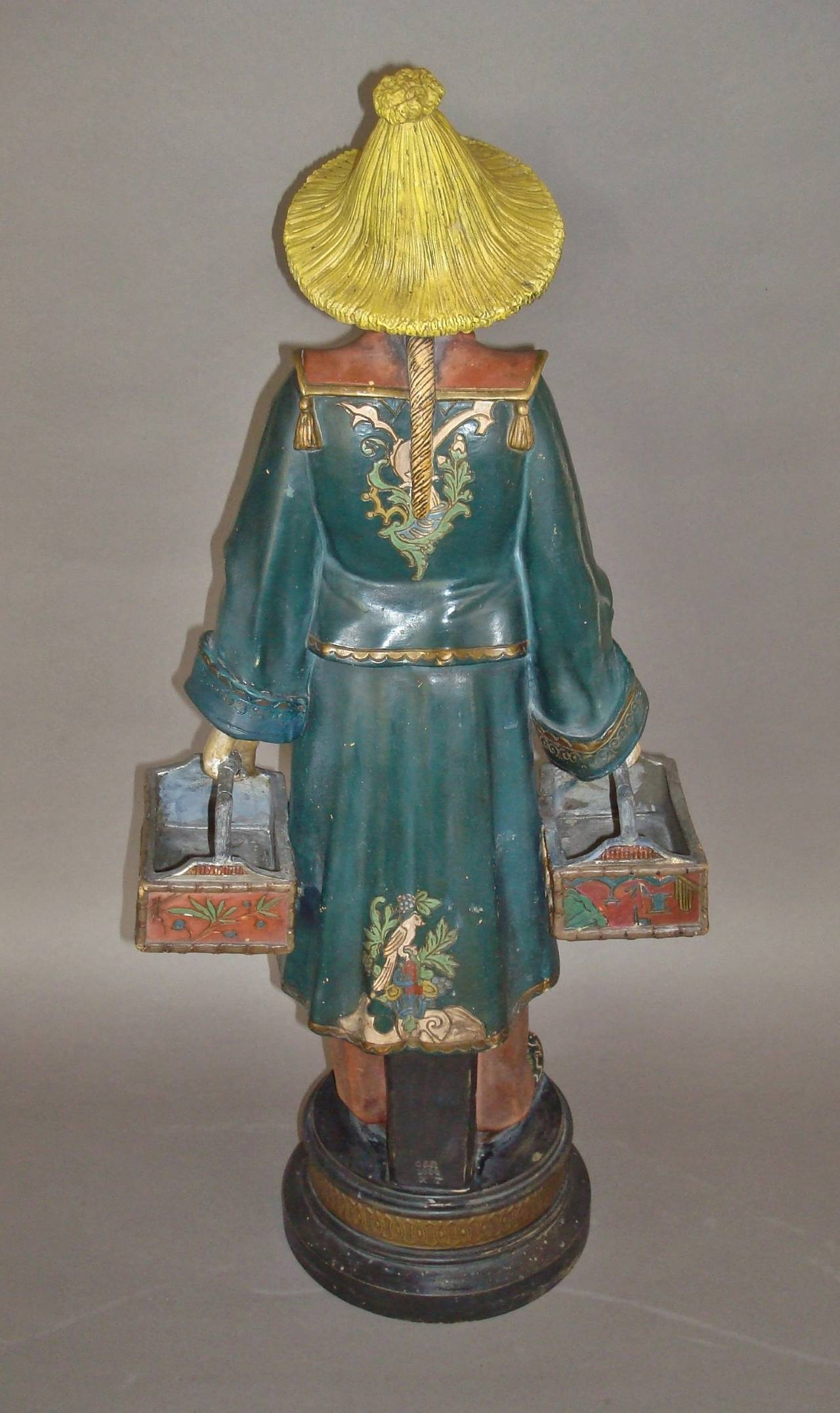 Polychromed 19th century Decorated Terracotta China Man Statue For Sale
