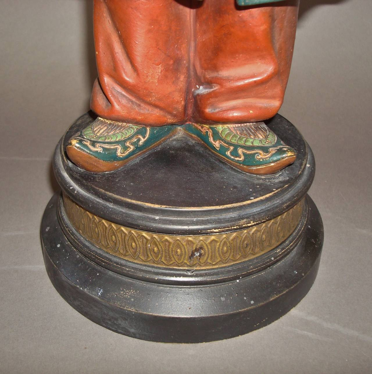 19th century Decorated Terracotta China Man Statue For Sale 3