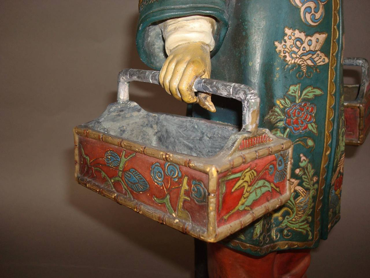 19th century Decorated Terracotta China Man Statue For Sale 1