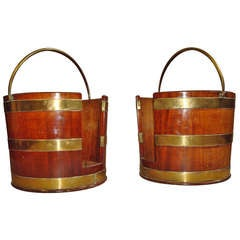 Pair of George III Brass Bound Mahogany Plate Buckets