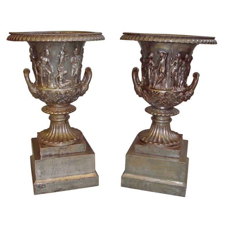 Good Quality Mid-19th Century Pair of Cast Iron Urns For Sale