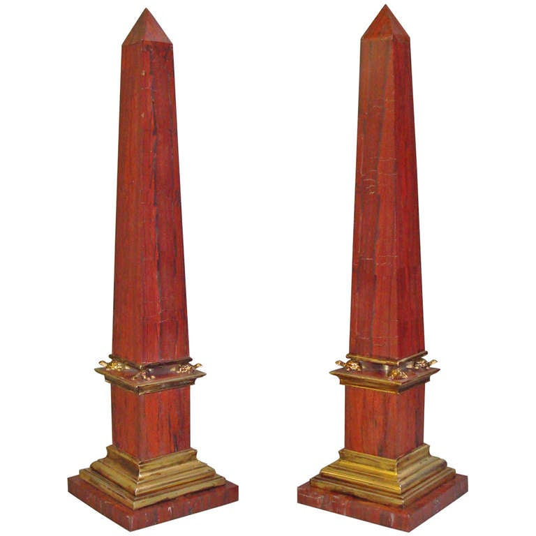 Pair Early C20th Sicilian Jasper Marble Obelisks 1