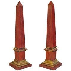 Pair Early C20th Sicilian Jasper Marble Obelisks