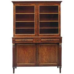 Good Regency Mahogany and Ebony Inlaid Small Bookcase
