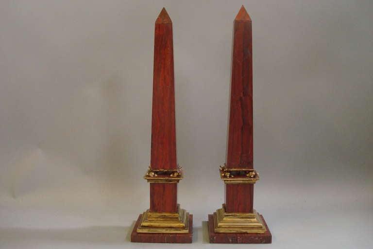 Pair Early C20th Sicilian Jasper Marble Obelisks 3