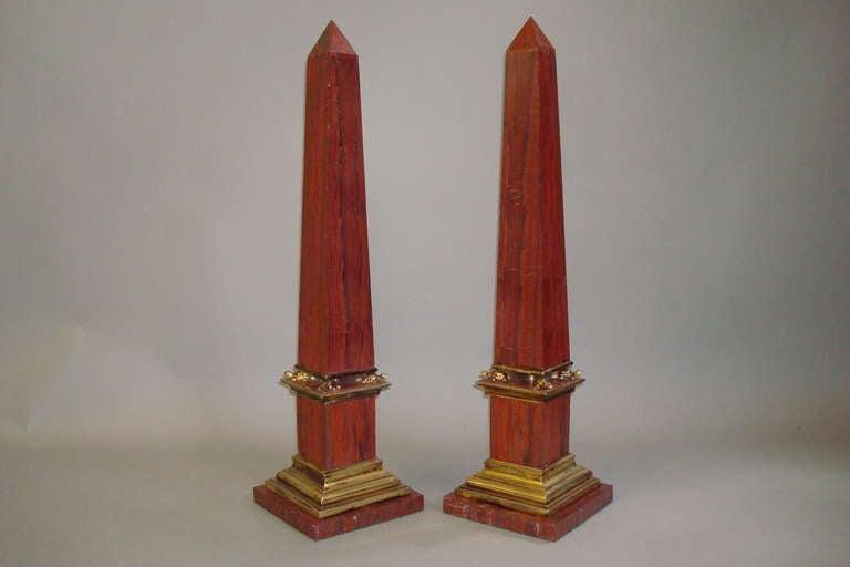 Pair Early C20th Sicilian Jasper Marble Obelisks 2