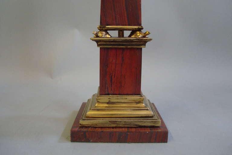 Pair Early C20th Sicilian Jasper Marble Obelisks 8