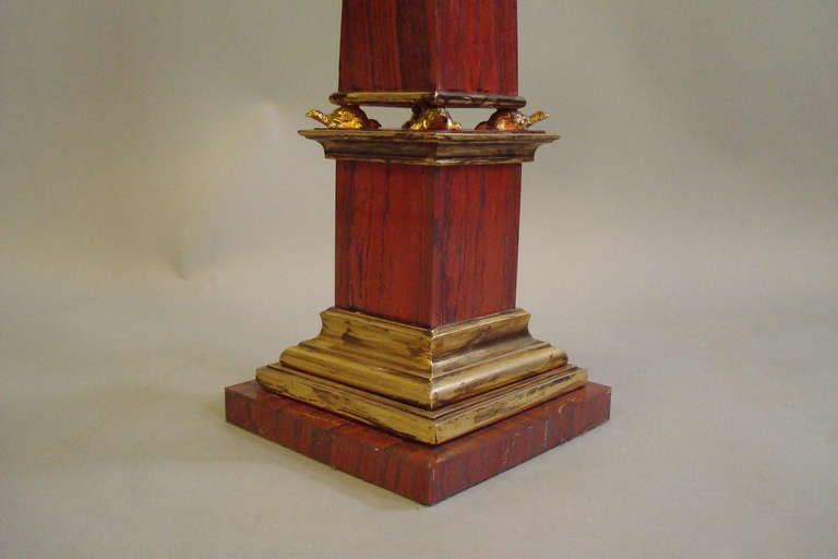 Pair Early C20th Sicilian Jasper Marble Obelisks 9
