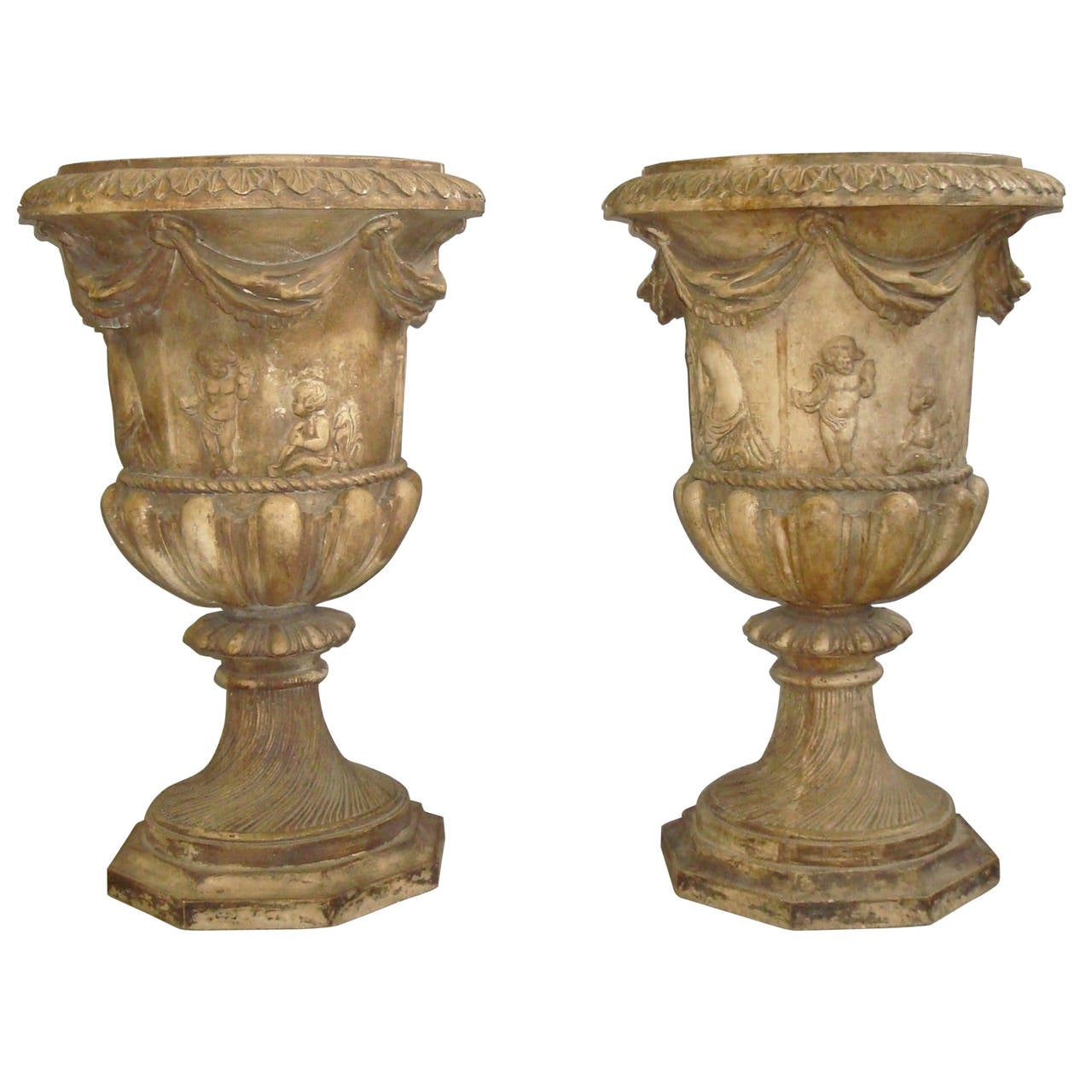Regency Pair of Neoclassical Plaster Urns For Sale