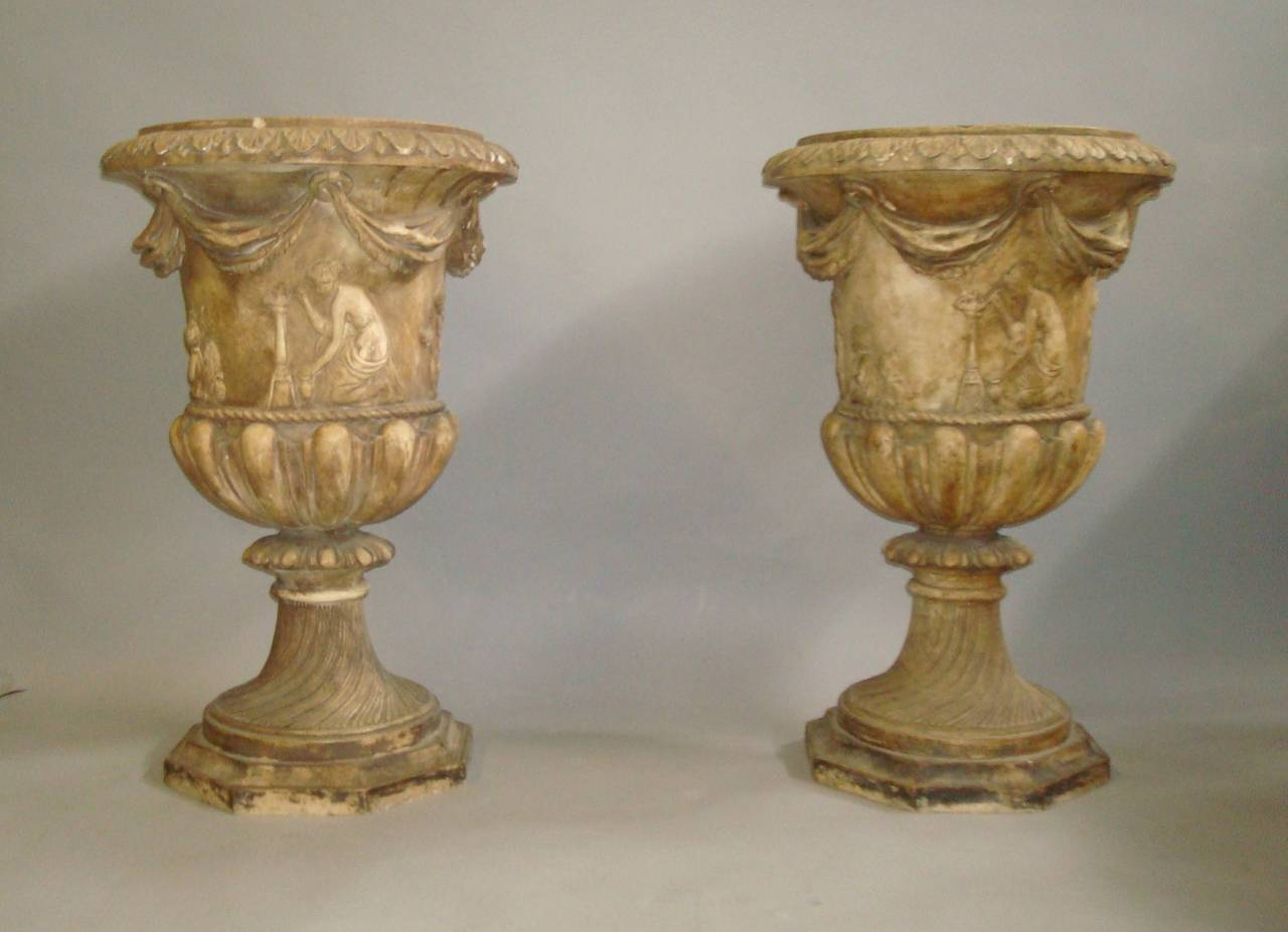 Regency Pair of Neoclassical Plaster Urns 2