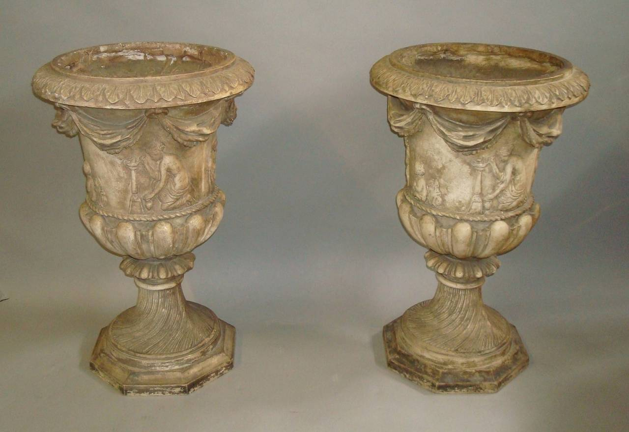 English Regency Pair of Neoclassical Plaster Urns For Sale