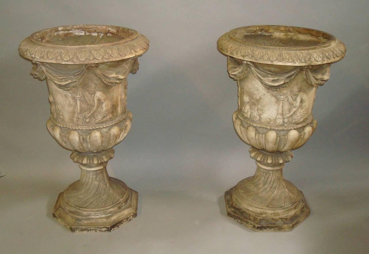 Regency Pair of Neoclassical Plaster Urns 3