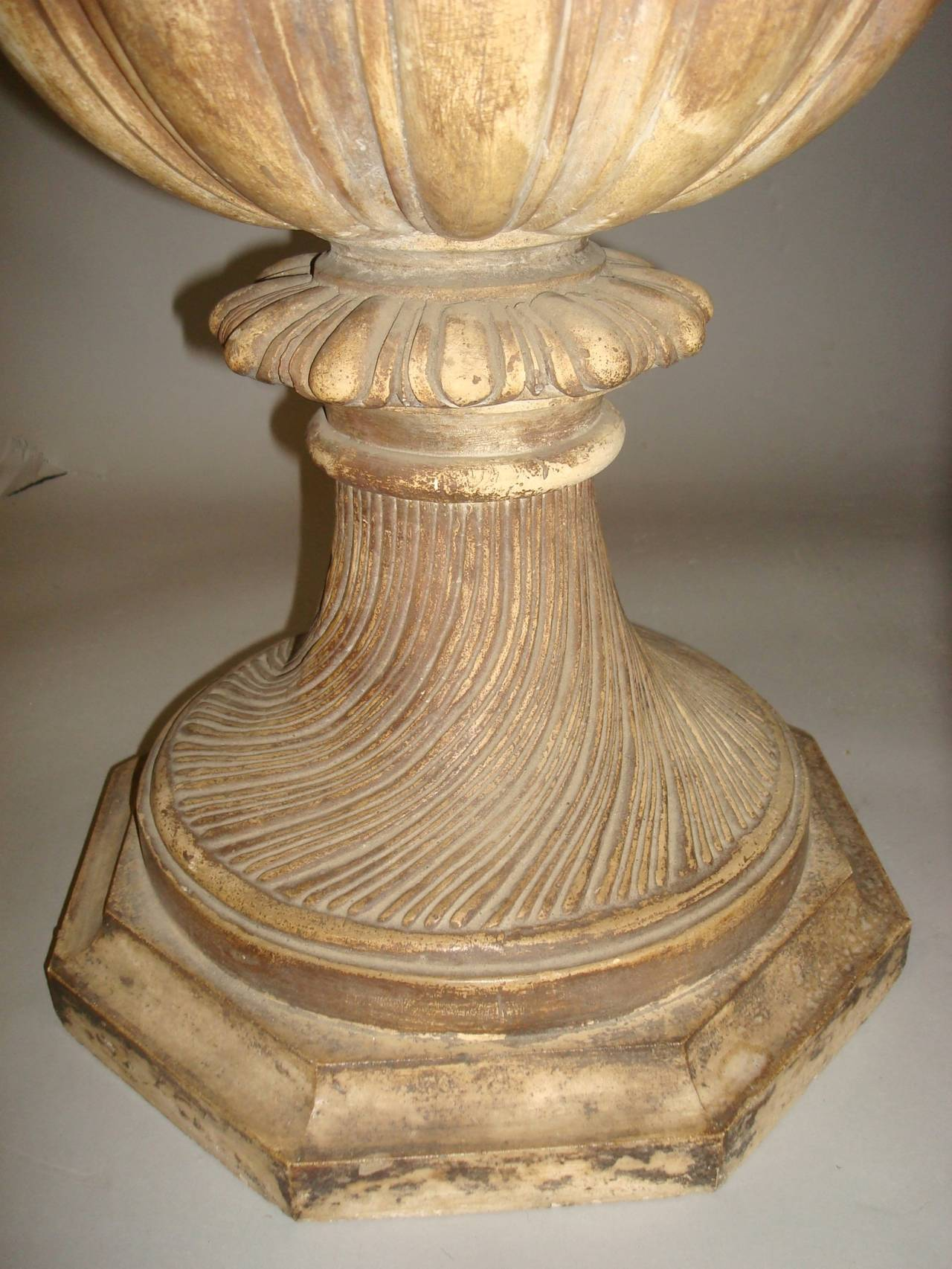 Regency Pair of Neoclassical Plaster Urns For Sale 1