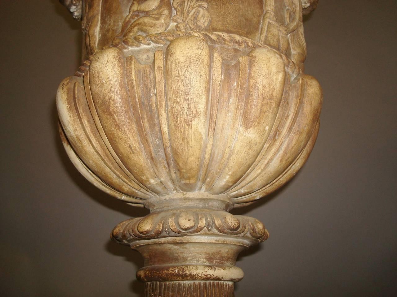 Regency Pair of Neoclassical Plaster Urns 7