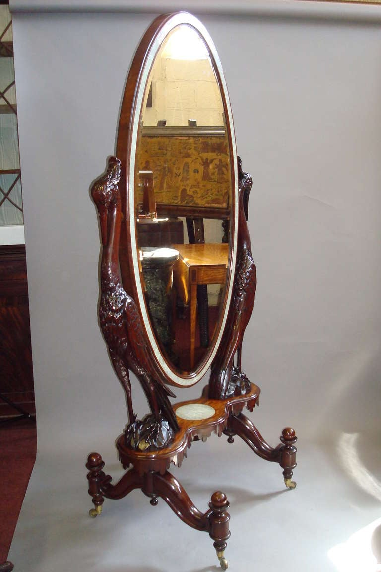 Regency mahogany cheval mirror for sale at 1stdibs for Floor length mirror for sale