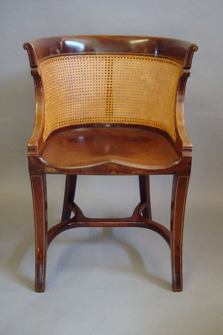 Unusual Regency Style Mahogany And Cane Desk Chair At 1stdibs