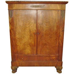 Early C19th French Empire Figured Mahogany Side Cabinet