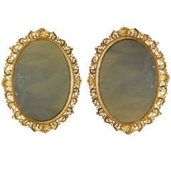 Mid-19th Century Pair of Floretine Gilt Wood Wall Mirrors