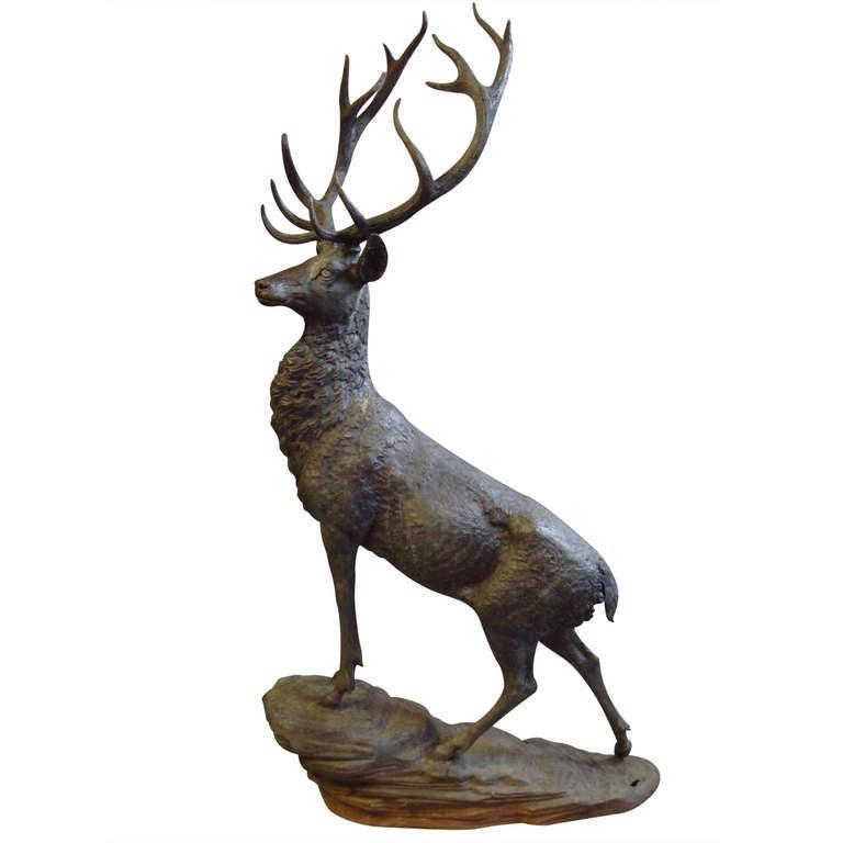Impressive 'Life Size' 19th Century Bronze Stag 1