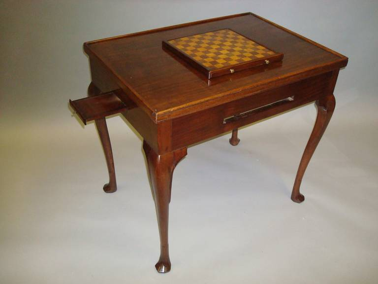 Four In One Game Table #23 - A Good Georgian Mahogany Irish Games Table, The Rectangular Reversible Top  With A Raised Moulded