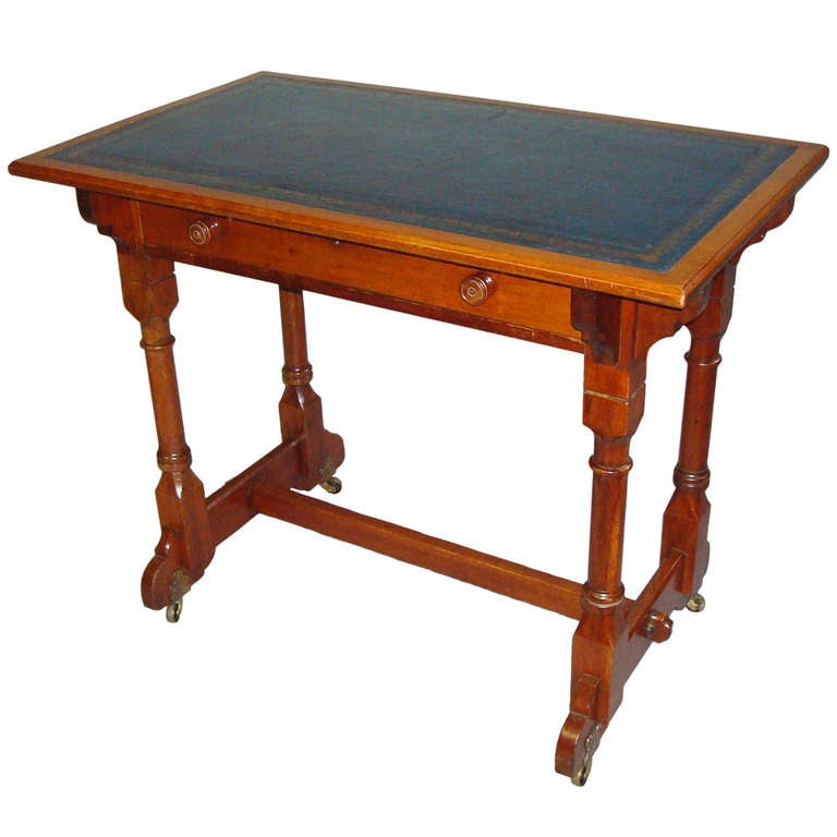 Late C19th Walnut Pugin Design Gillows Writing Table For