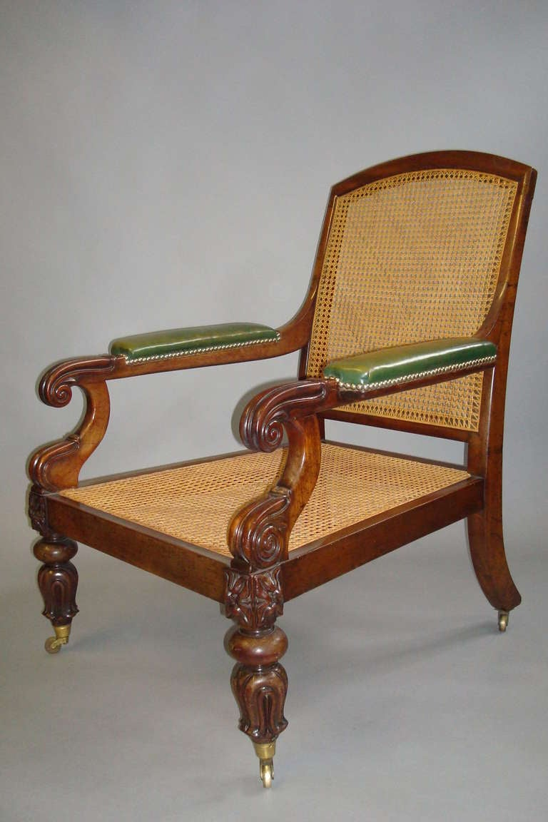 Good george mahogany and leather gentleman 39 s library chair at 1stdibs - Library lounge chairs ...