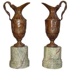 C19th French Pair of Bronze Ewers