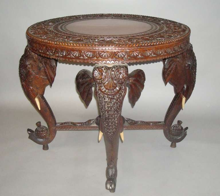 Elegant Good C19th Indian Carved Teak U0027Elephantu0027 Low Centre Table 2