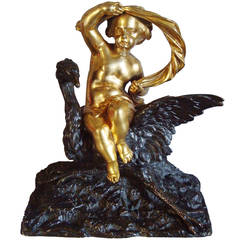 Charming 19th Century Bronze Cherub and Heron