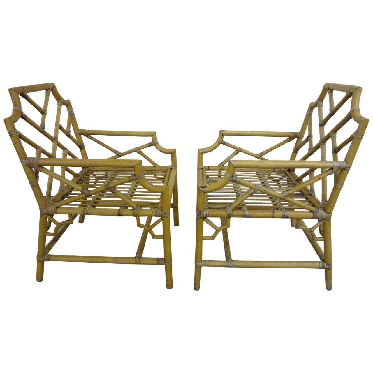 Pair of Bamboo Chippendale Armchairs