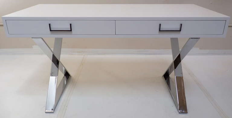 White Lacquer Campaign Desk By Milo Baughman At 1stdibs
