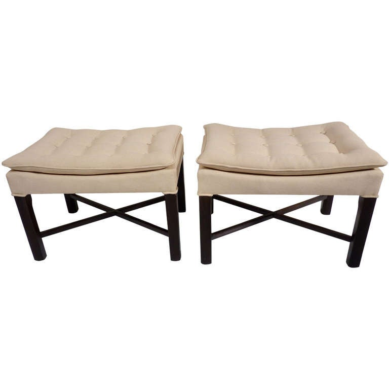 Pair Of Tufted X Base Benches At 1stdibs