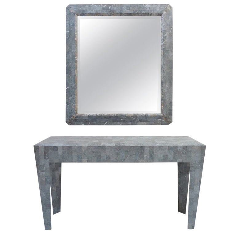 Maitland smith coral stone console table and mirror at 1stdibs for Table 52 art smith