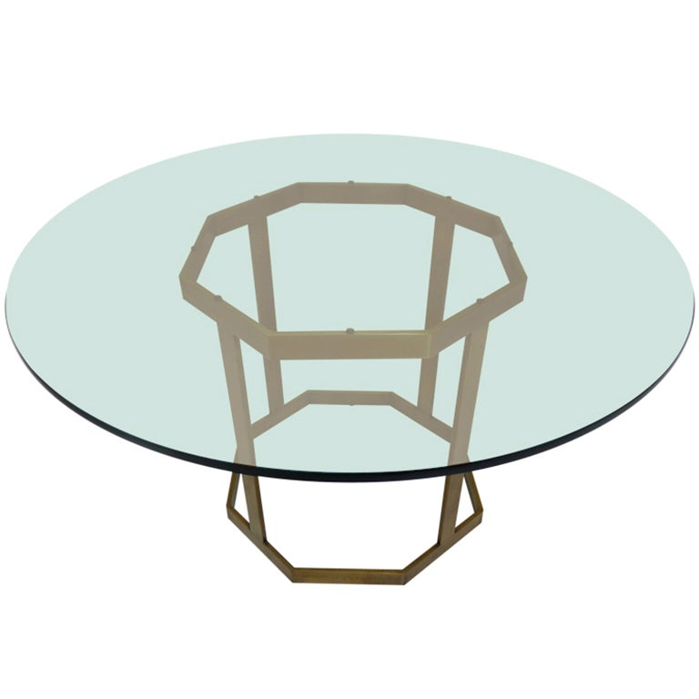 Brass Octagonal Dining Table By Milo Baughman At 1stdibs
