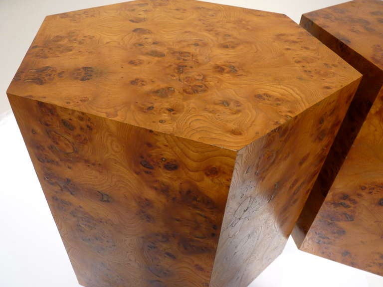 Pair Of Custom Hexagon Burlwood Tables At 1stdibs