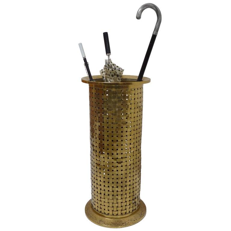 Brass Umbrella Stand Embossed: Woven Brass Umbrella Stand At 1stdibs